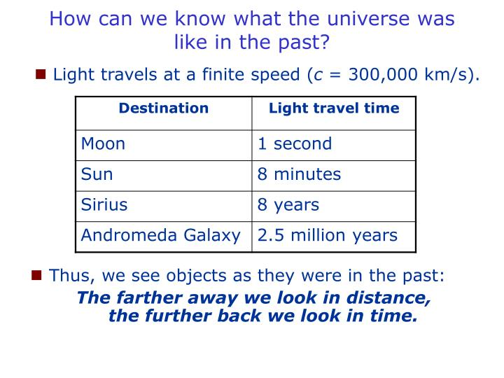 How can we know what the universe was like in the past l.jpg