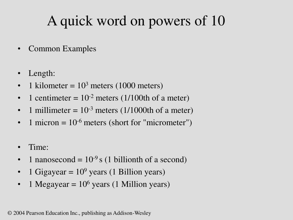 A quick word on powers of 10