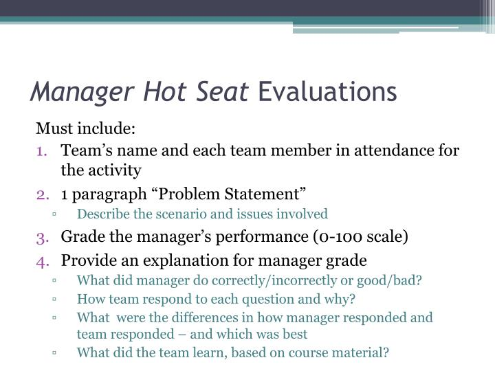 Manager Hot Seat