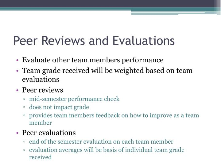 Peer Reviews and Evaluations