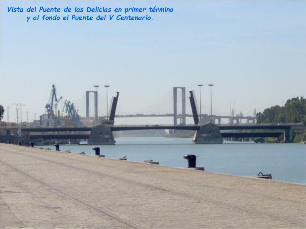 Vista del Puente de las Delicias en primer término