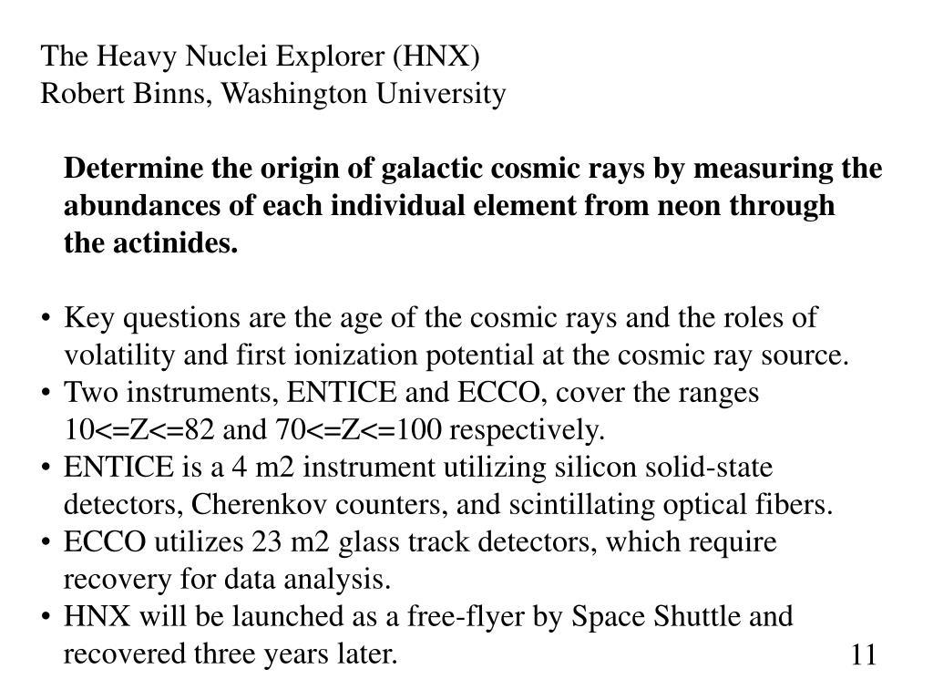 The Heavy Nuclei Explorer (HNX)
