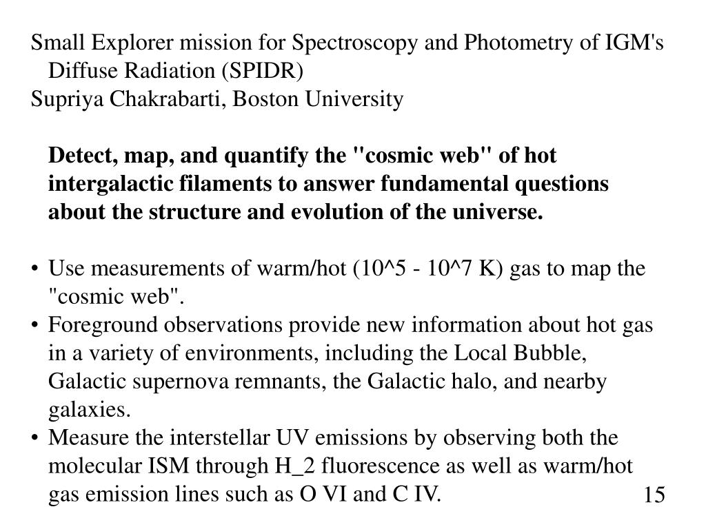 Small Explorer mission for Spectroscopy and Photometry of IGM's Diffuse Radiation (SPIDR)