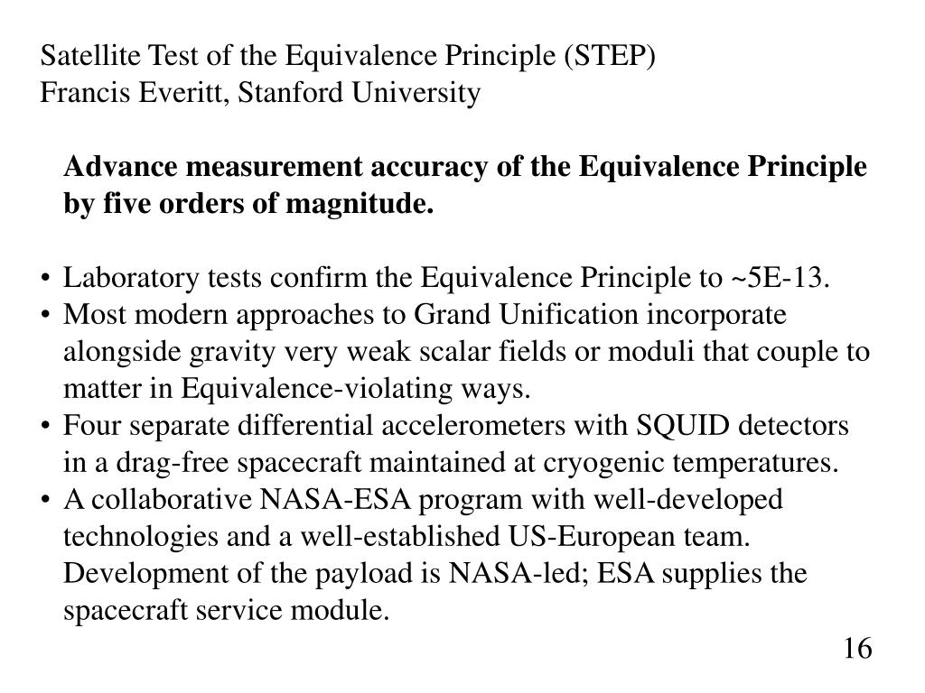 Satellite Test of the Equivalence Principle (STEP)