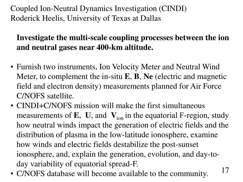 Coupled Ion-Neutral Dynamics Investigation (CINDI)