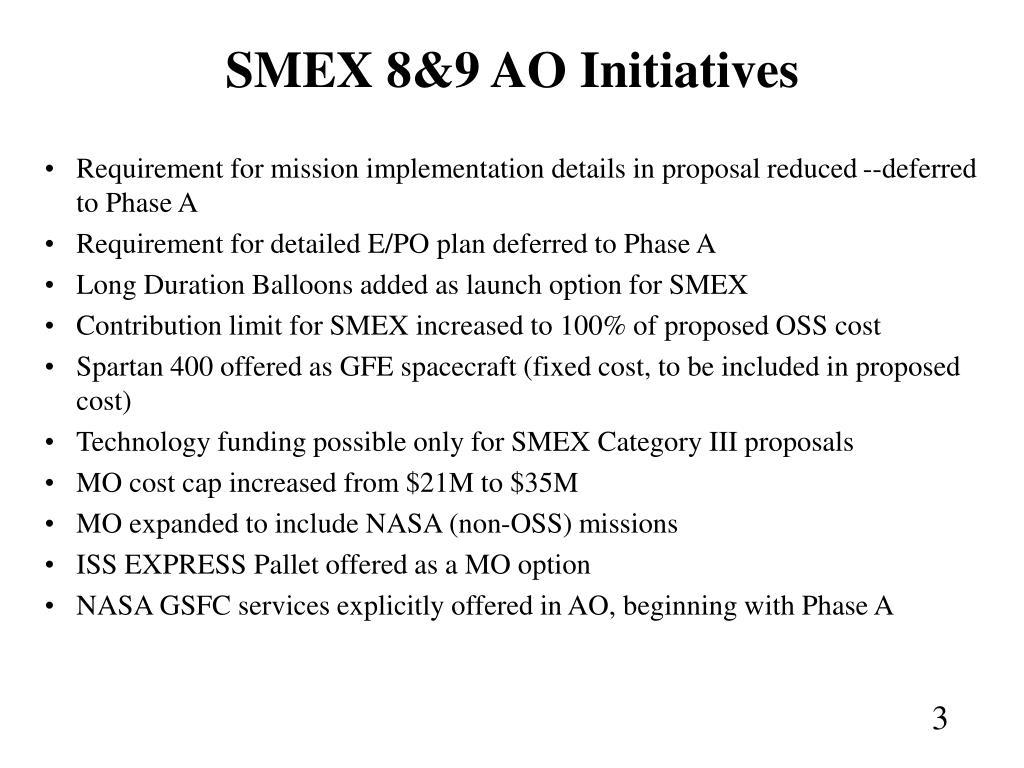 SMEX 8&9 AO Initiatives