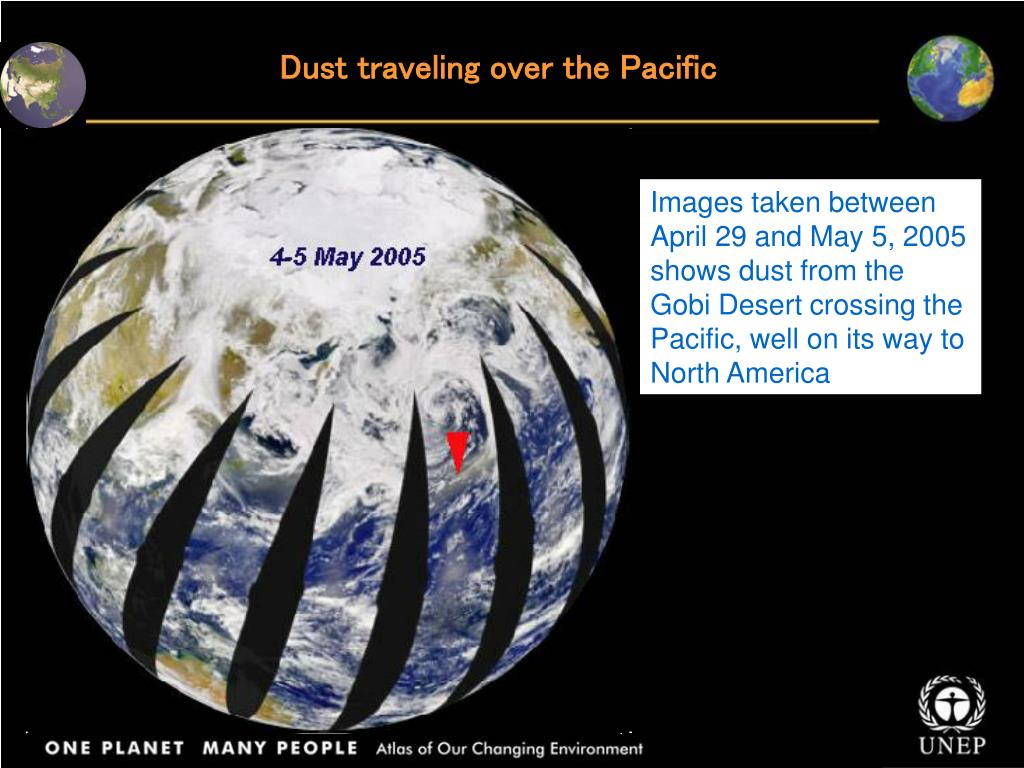 Dust traveling over the Pacific