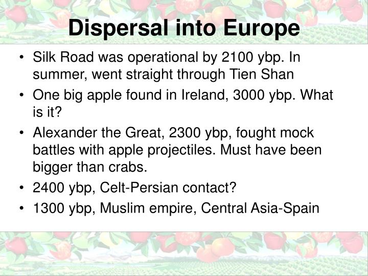 Dispersal into Europe
