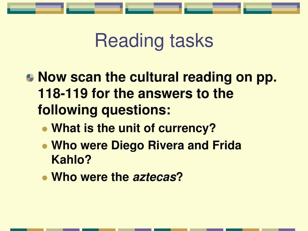 Reading tasks