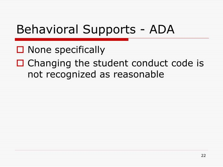 Behavioral Supports - ADA