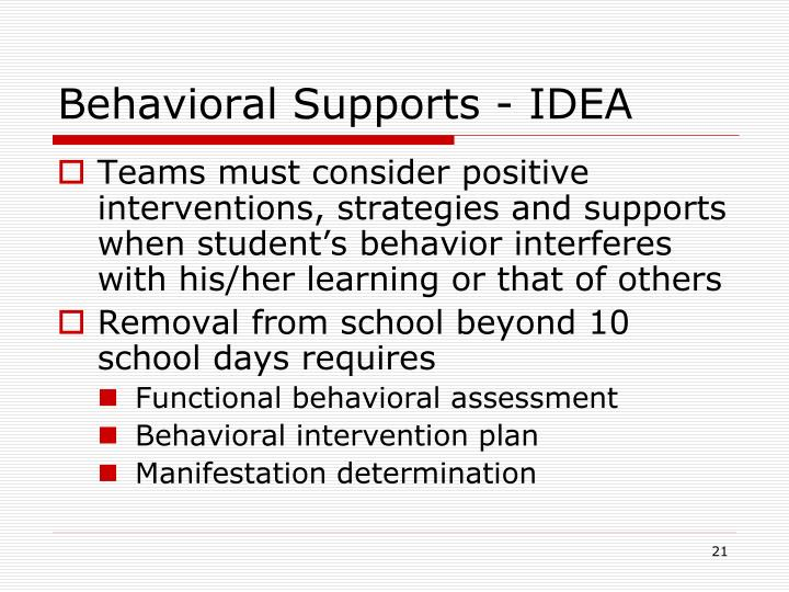 Behavioral Supports - IDEA
