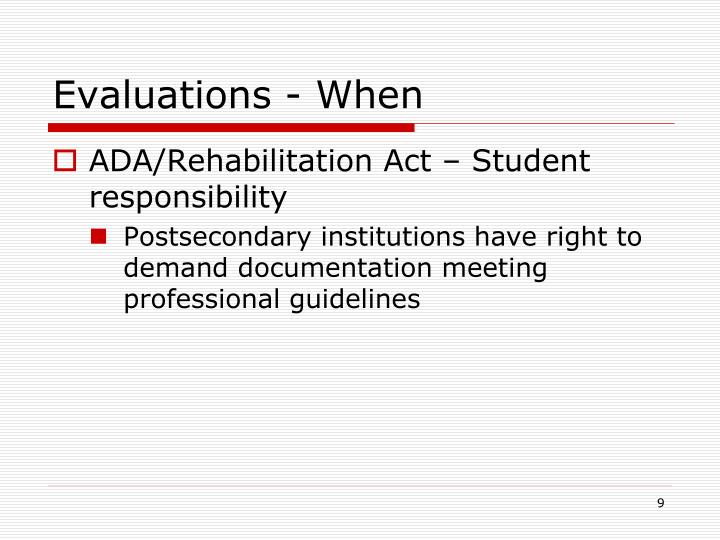 Evaluations - When