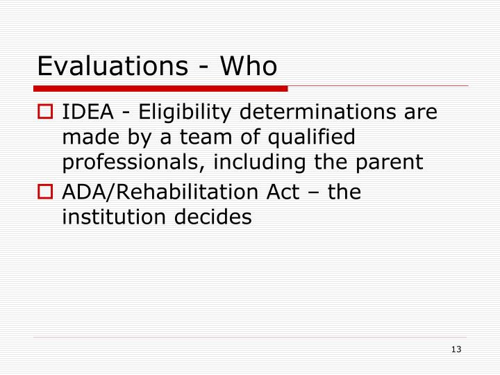 Evaluations - Who