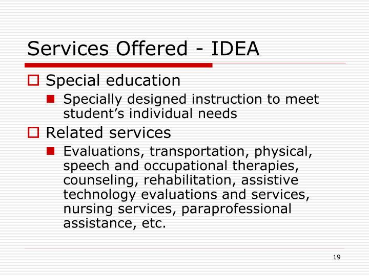 Services Offered - IDEA