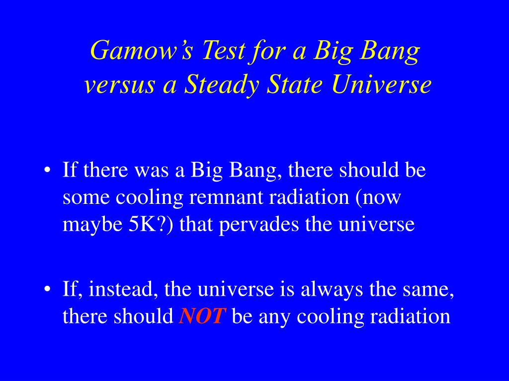 Gamow's Test for a Big Bang