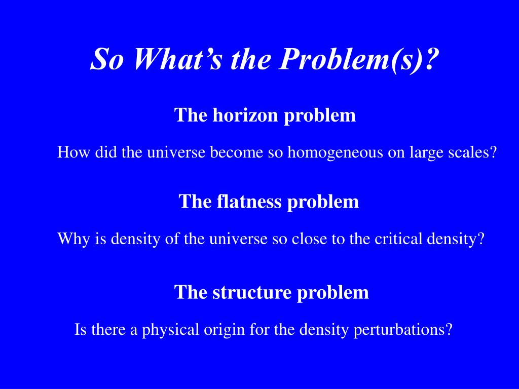 So What's the Problem(s)?