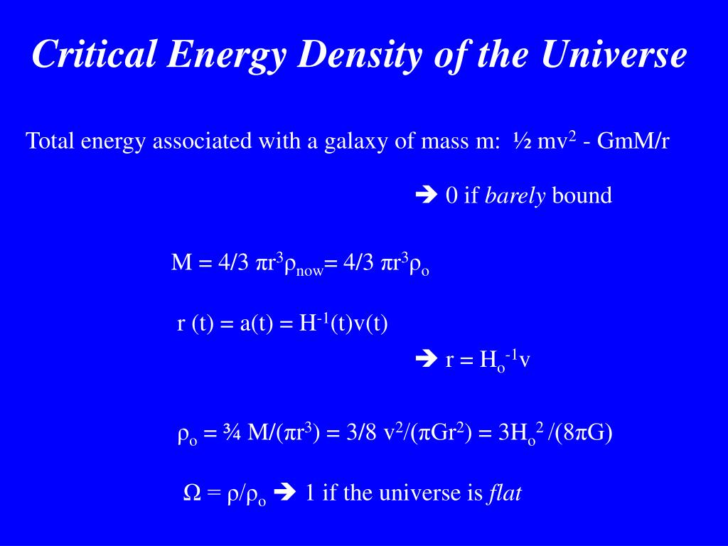 Critical Energy Density of the Universe