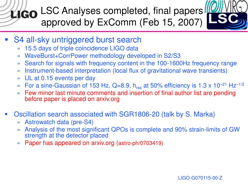 LSC Analyses completed, final papers