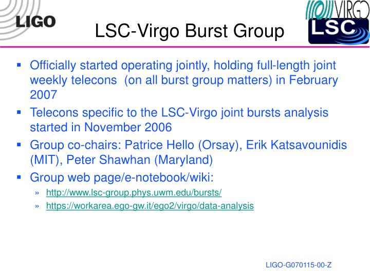 Lsc virgo burst group