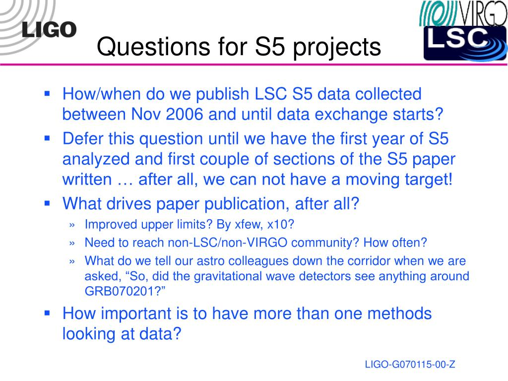Questions for S5 projects