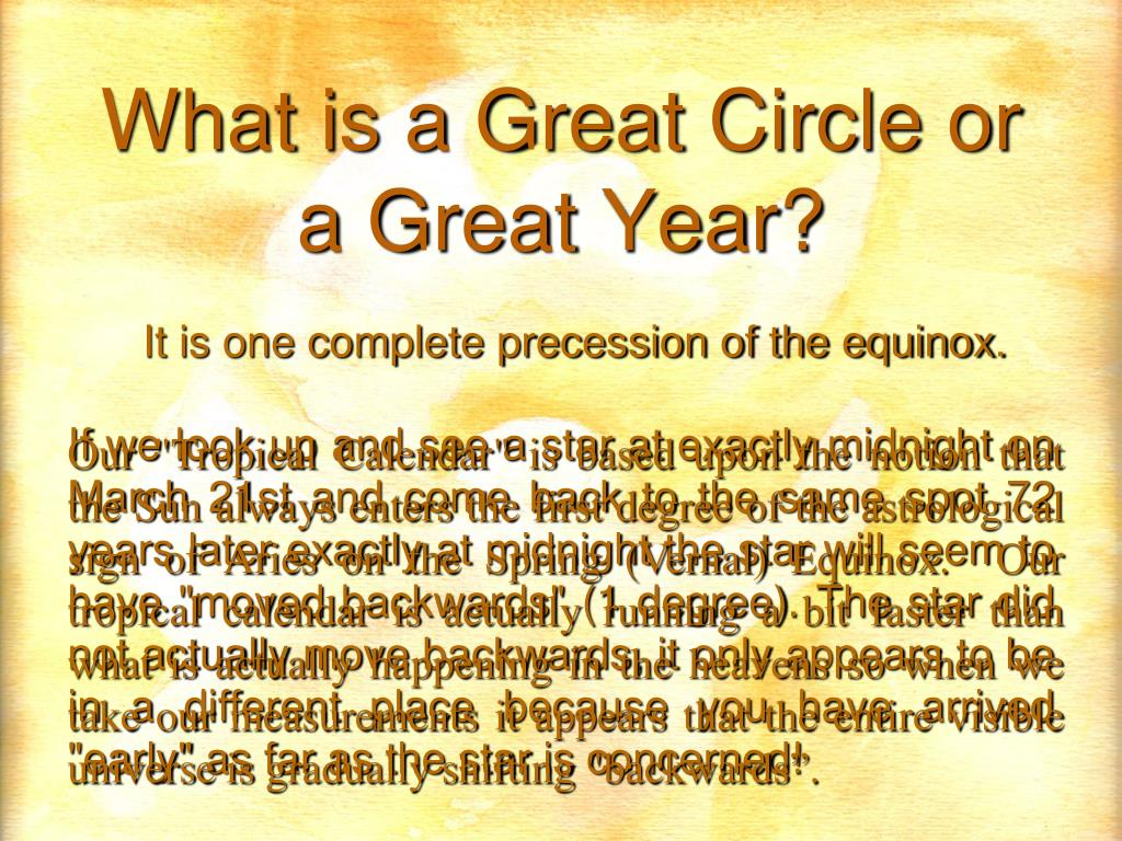 What is a Great Circle or a Great Year?