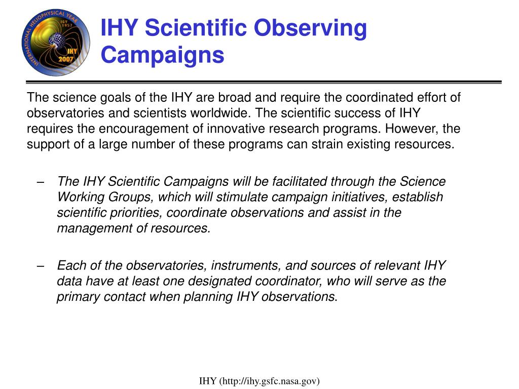 IHY Scientific Observing Campaigns
