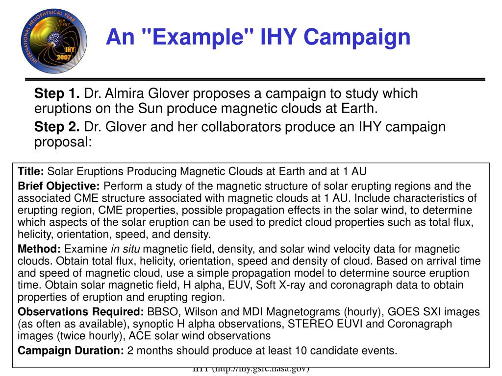 """An """"Example"""" IHY Campaign"""