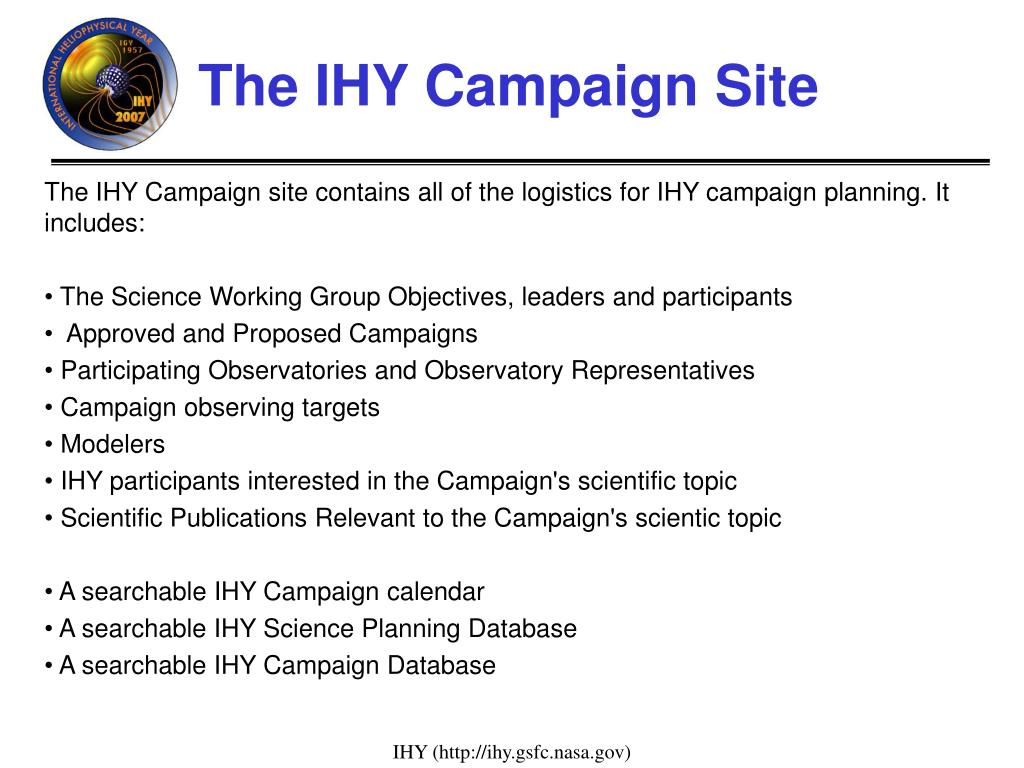 The IHY Campaign Site