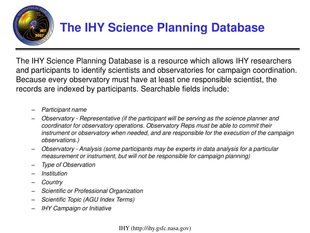 The IHY Science Planning Database