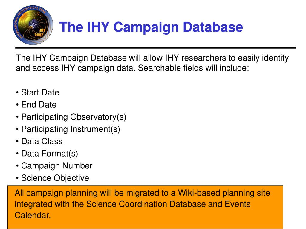 The IHY Campaign Database