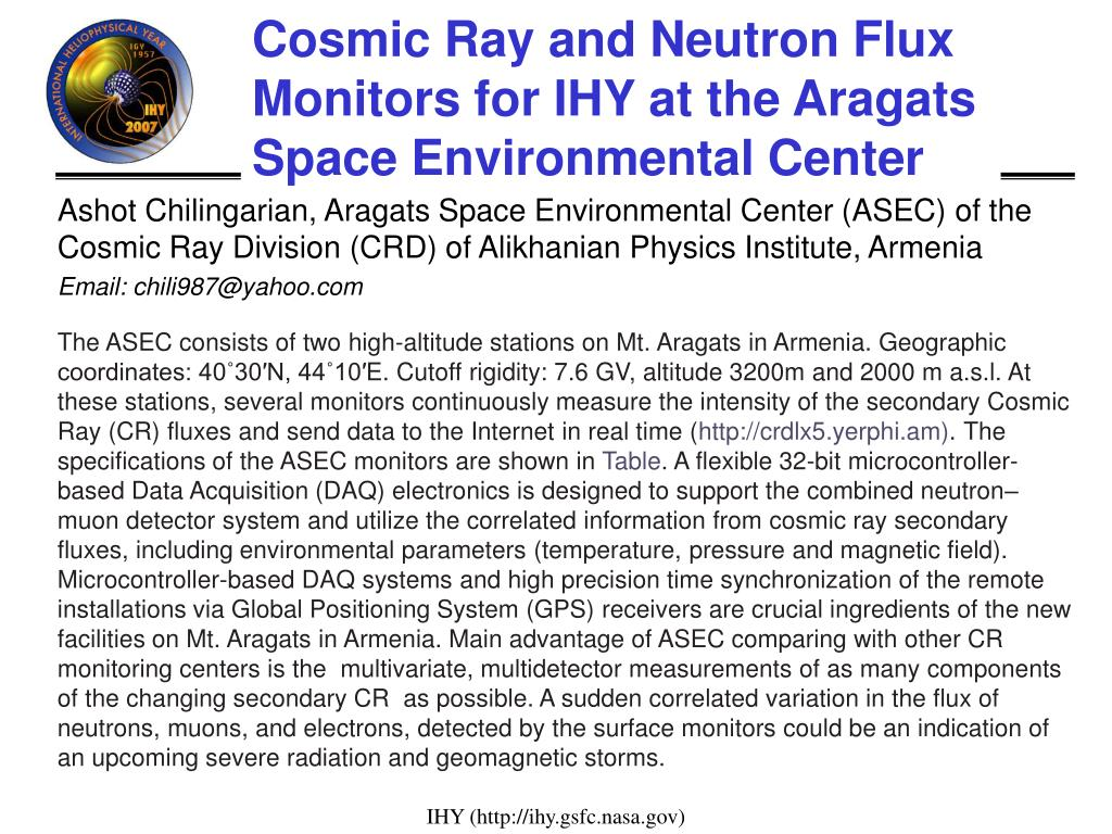Cosmic Ray and Neutron Flux Monitors for IHY at the Aragats Space Environmental Center