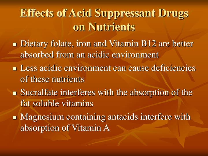 Effects of Acid Suppressant Drugs on Nutrients