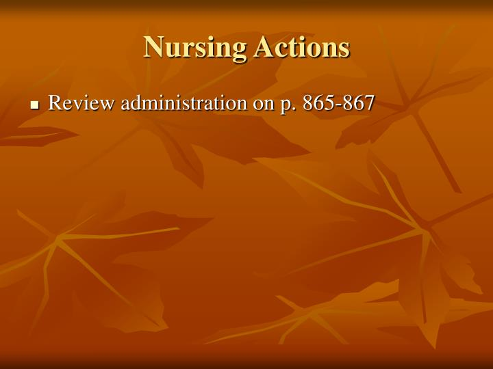 Nursing Actions