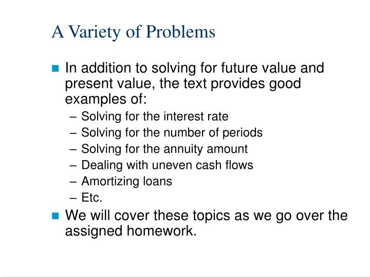 A Variety of Problems