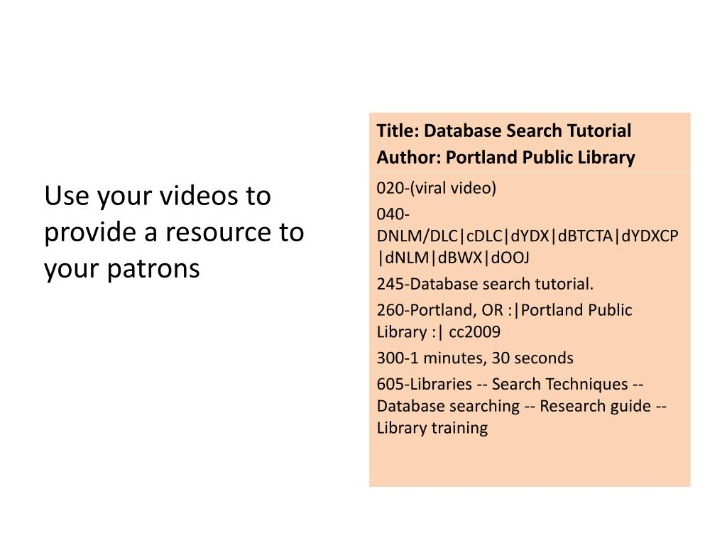 Title: Database Search Tutorial