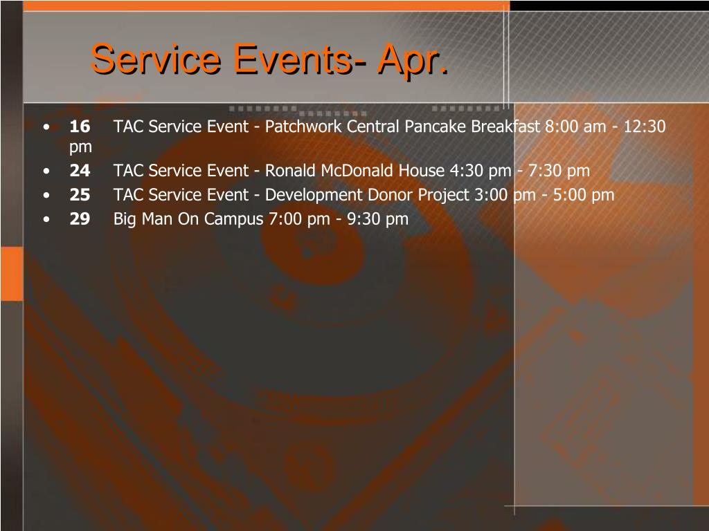Service Events- Apr.
