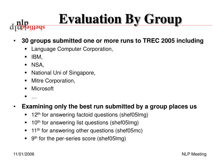 Evaluation By Group
