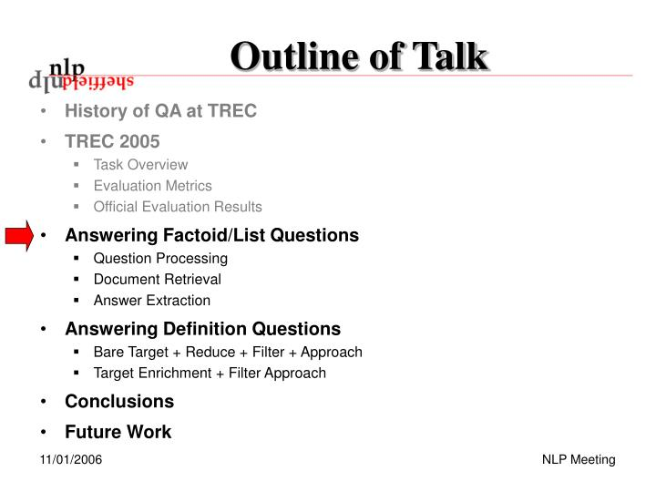 Outline of Talk