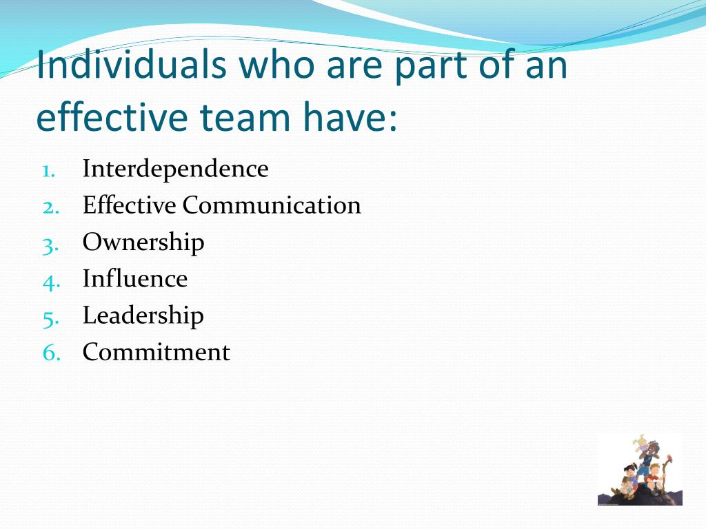Individuals who are part of an effective team have: