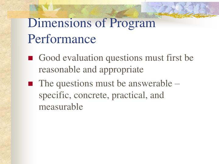 Dimensions of Program Performance