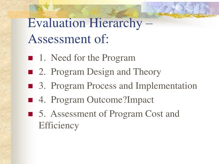 Evaluation Hierarchy – Assessment of: