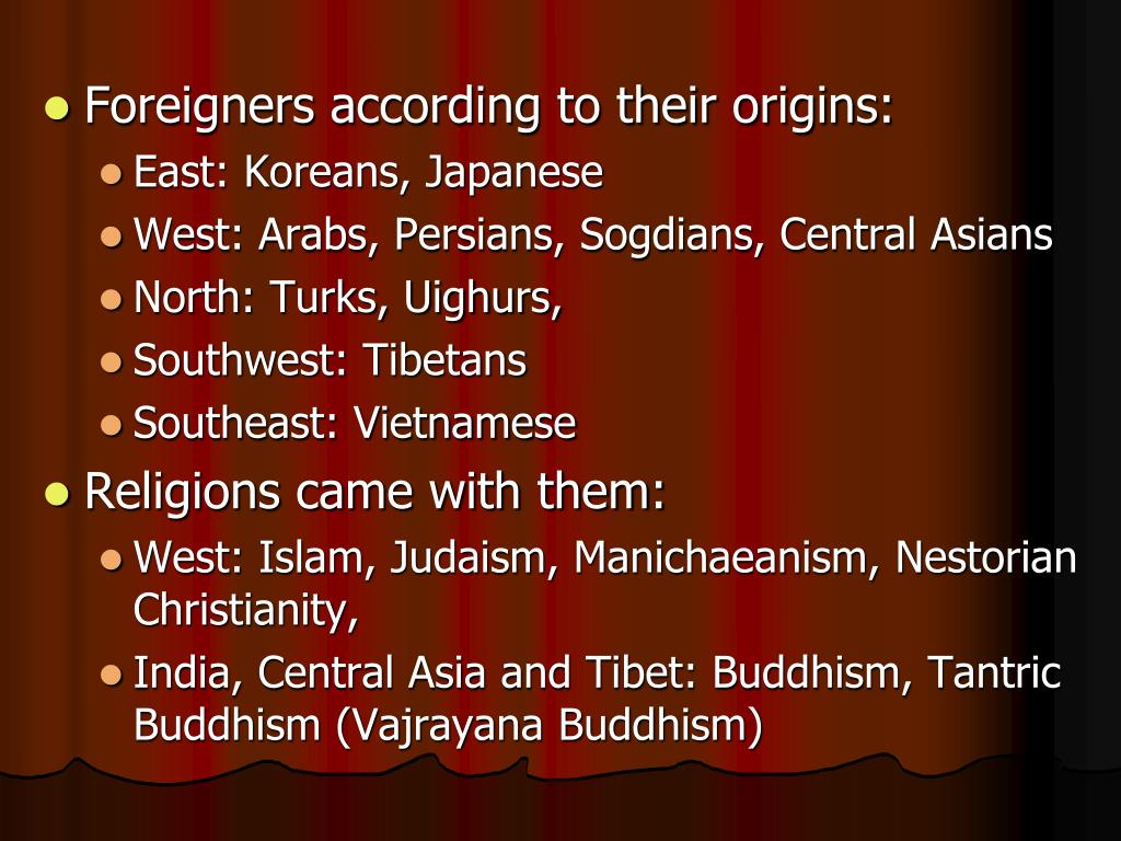 Foreigners according to their origins: