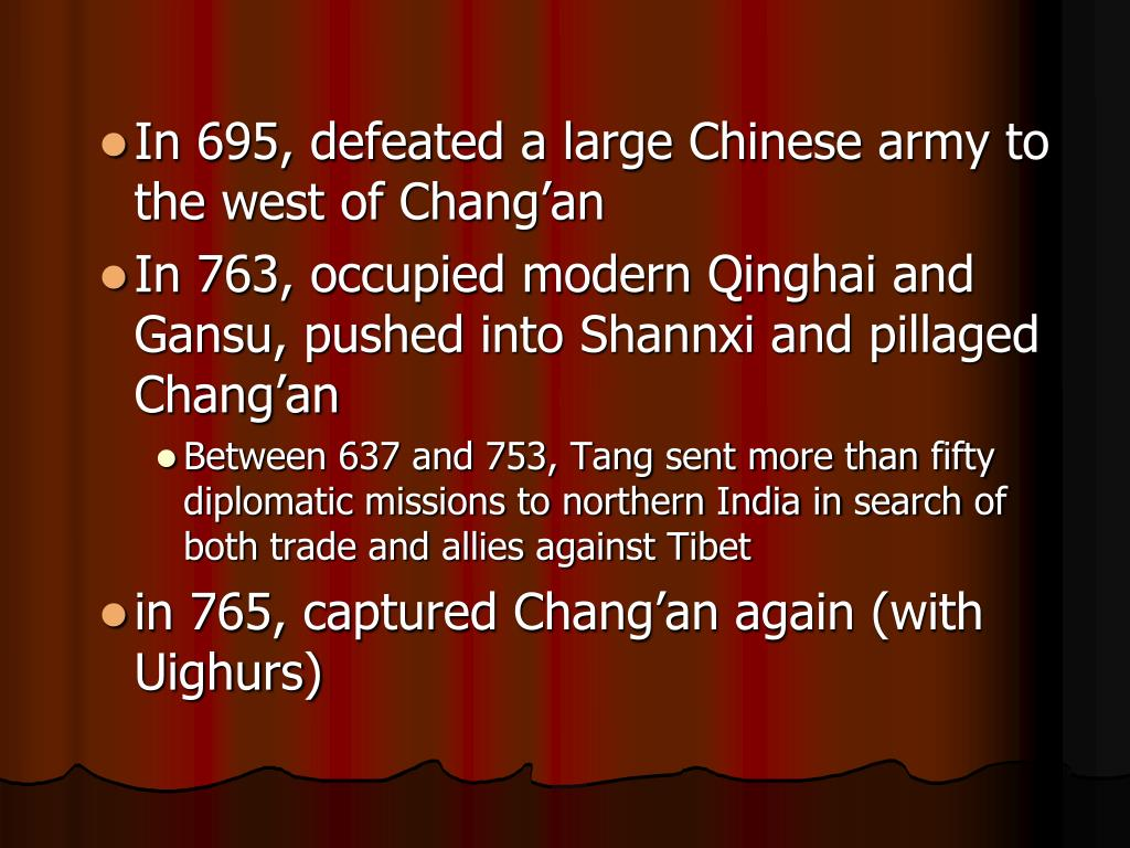 In 695, defeated a large Chinese army to the west of Chang'an