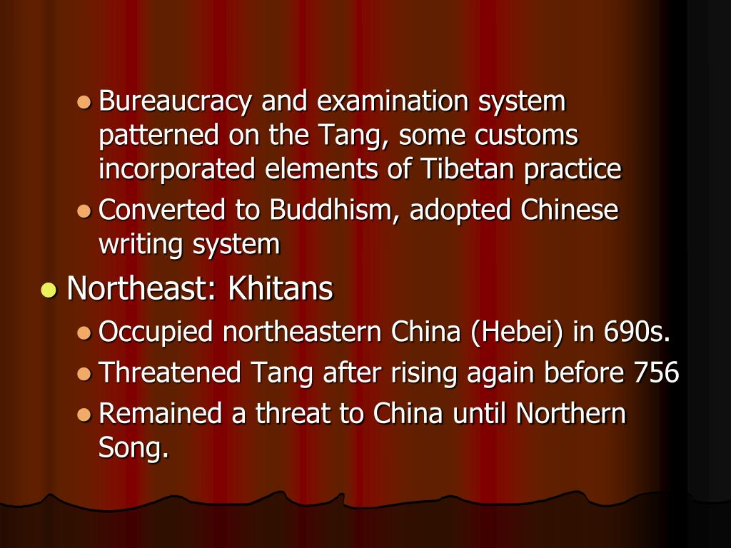 Bureaucracy and examination system patterned on the Tang, some customs incorporated elements of Tibetan practice