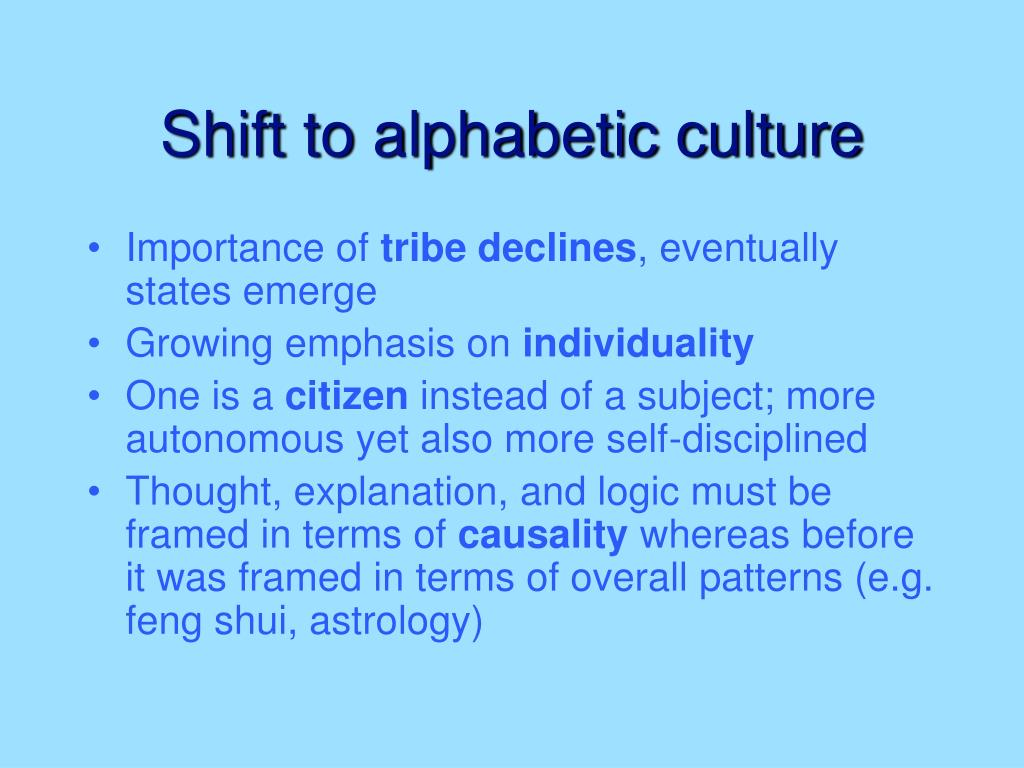 Shift to alphabetic culture
