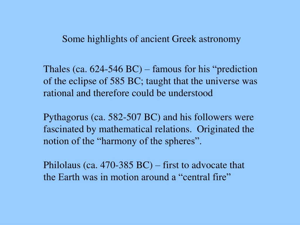 Some highlights of ancient Greek astronomy