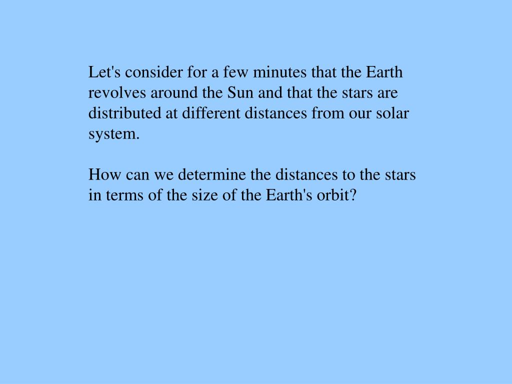 Let's consider for a few minutes that the Earth
