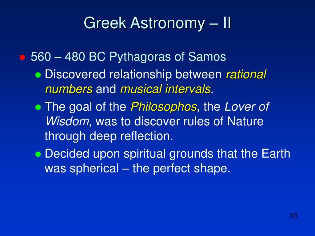 Greek Astronomy – II
