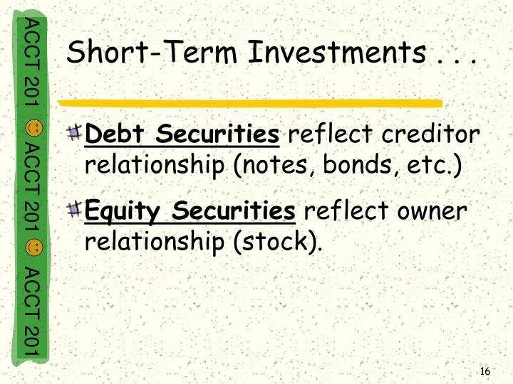 Short-Term Investments . . .