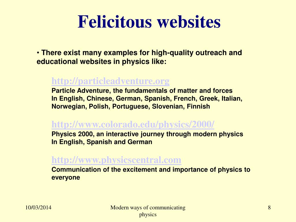 Felicitous websites
